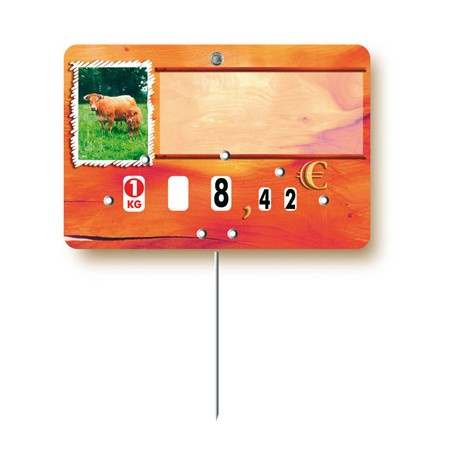 Market stall label cow/calf