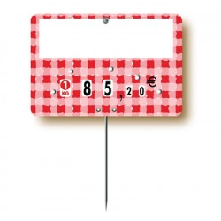 Red checkered market stall label