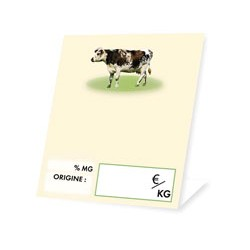 Cheese market stall label cow